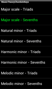 music theory app - scales screen