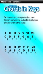 music theory app - chords in keys - sevenths