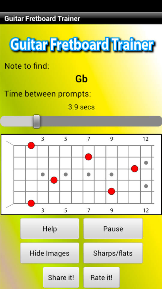 Guitar Fretboard Trainer app Bb